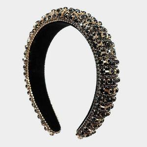 Black Gold Bling Stone Crystal Headband Hair Piece